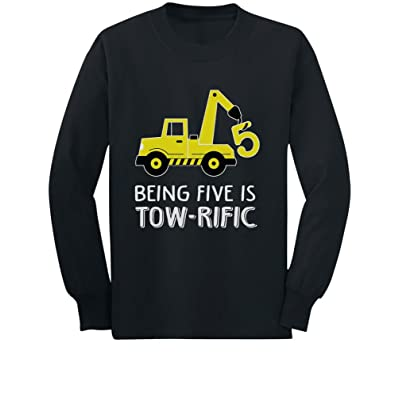 5th Birthday Tractor Construction Party Toddler/Kids Long Sleeve T-Shirt