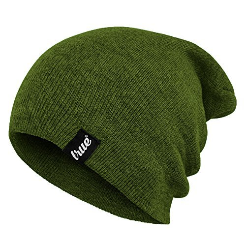 TRUE VISION Mens Army Green Beanie Hat - Wear as Slouch or Turn Cuff for Traditional Beanie Style - Soft & Comfortable One Size Fit - Winter Warm Knitted Acrylic - Unisex - Suitable for Men & Women