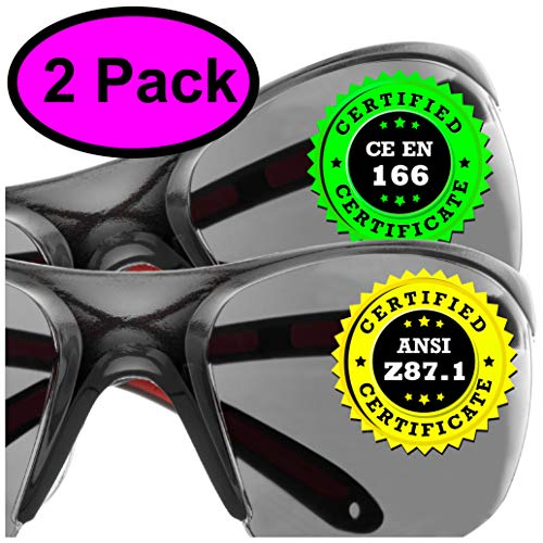 Tinted Safety Glasses Eye Protection - 2 Pack - Comfort Eyewear Sunglasses with our SuperLite and SuperClear Tinted Lens Technology
