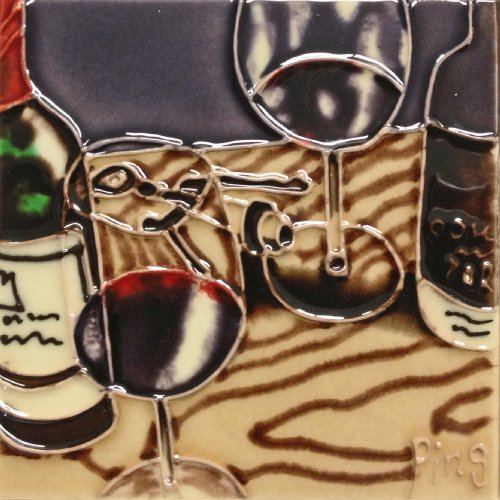 Continental Art Center SD-087 4 by 4-Inch Wine Set No.1 Ceramic Art Tile