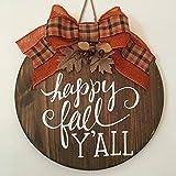 "Happy Fall Y'All 18"" Wooden Fall Door Sign/Wreath"