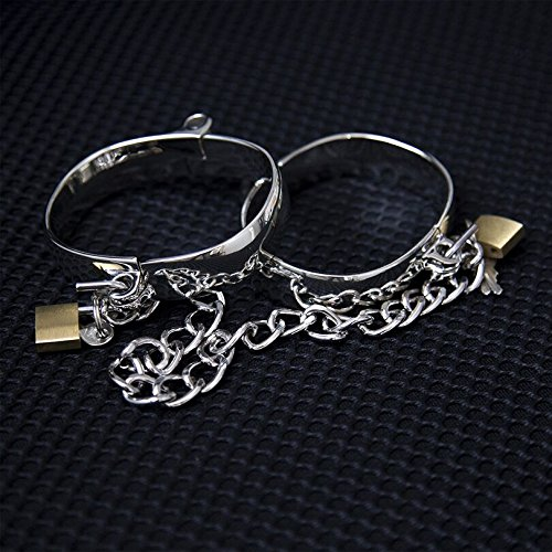 1 Pair 4 Size Stainless Steel Female Male Handcuff Metal Ankle Cuffs Wrist Cuff for Couples Chain Lockable Restraints Adult Game Women Handcuffs by Vibrator Sexy Adult