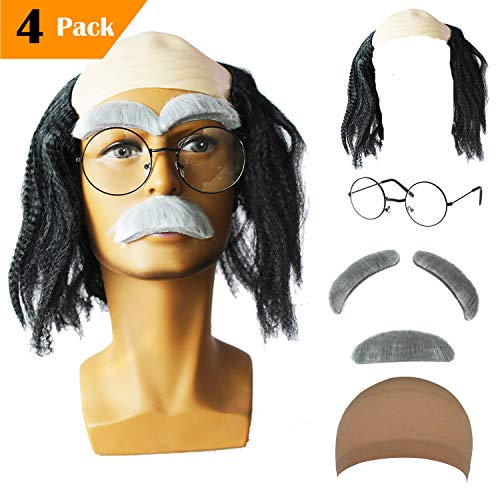 Old Man Mad Scientist Wig Set,Albert Einstien Costume Wig/Ben Benjamin Franklin Bald Cap Wig (Franklin - ()