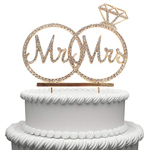 Hatcher lee Mr & Mrs Cake Topper for Wedding Anniversary Rings Crystal Rhinestone Party Decoration (Gold)