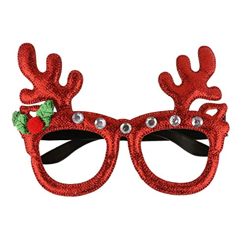 YiZYiF Christmas Themed Eyeglasses Novelty Reindeer Antler/Christmas Tree Frame Glasses for Xmas Party Decoration Holiday Gift Type B One Size