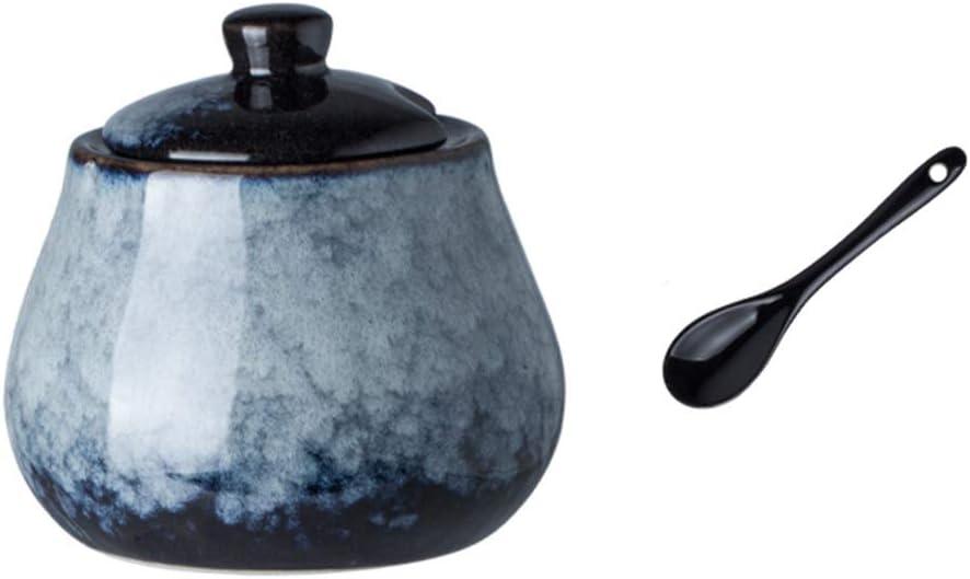 DoDola Retro Ceramics Sugar Bowl with Lid and Spoon Condiment Pots Seasoning Box 8oz (Gray Blue)