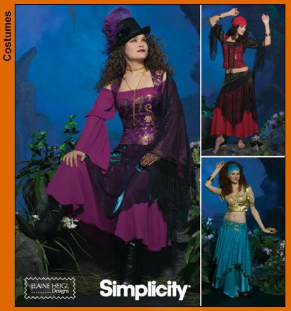 Belly Dance Costumes Sewing Patterns (Simplicity 4484 Sewing Pattern makes Misse Gypsy and Belly Dance costumes makes sizes 6-8-10-12)