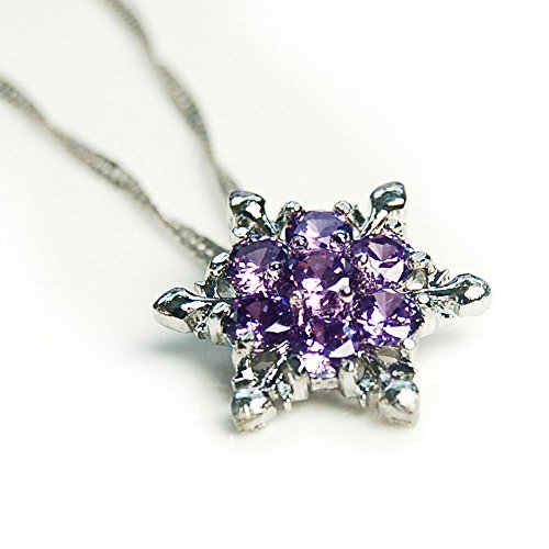 Women Girls Elsa Frozen Crystal Snowflake Necklace Purple Pendant for Gift - http://coolthings.us