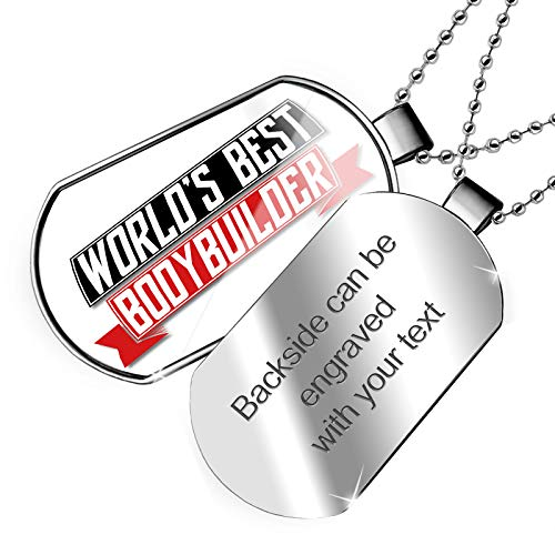 NEONBLOND Personalized Name Engraved Worlds Best Bodybuilder Dogtag Necklace