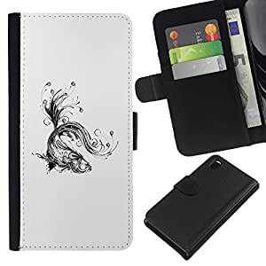 LECELL--Cuero de la tarjeta la carpeta del tirón Smartphone Slots Protección Holder For Sony Xperia Z3 D6603 -- Floral tatuaje Koi Fish --