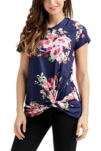 Elapsy Womens Summer Floral Print Short Sleeve Knot Front Round Neck Top Casual Shirts Navy - Top Knot Neckline