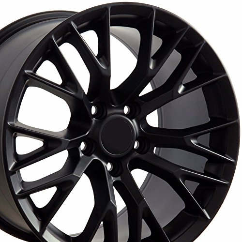 OE Wheels 19 Inch Fits Chevy Corvette 05-2013 C7 Z06 Style CV22B 19x10/18x8.5 Rims Satin Black Hollander 5734 SET
