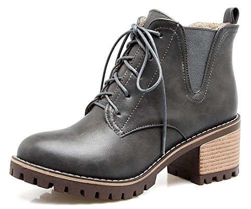 Students' Heels Short Grey Boots Martin Round QZUnique Women's Toe Mid Thick Shoes aWg6qgn7z