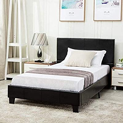 Mecor Faux Leather Bonded Platform Bed Frame,Black-Twin/Full/Queen by mecor