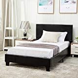 Mecor Twin Size Bed Frame - Faux Leather Upholstered Bonded Platform Bed/Panel Bed