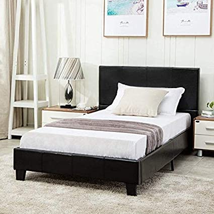 Amazon Com Mecor Twin Size Bed Frame Faux Leather Upholstered