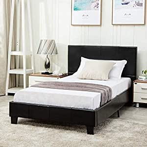 Amazon Com Mecor Twin Size Bed Frame Faux Leather