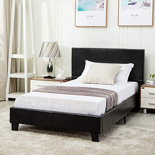 Mecor Twin Size Bed Frame - Faux Leather Upholstered Bonded Platform Bed/Panel Bed - with Headboard - No Box Spring Needed - for Children Teens ()