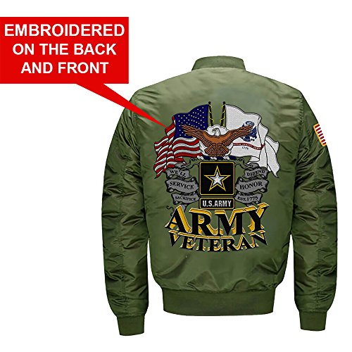 US Army Veteran MA-1 Flight Embroidered Bomber Jacket (Large, Green)