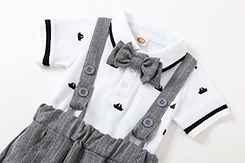 US Baby Boys Gentleman Jumpsuit Outfits Suits Bow Tie Overalls Clothes Set(0-6Months) by Baby Love (Image #2)