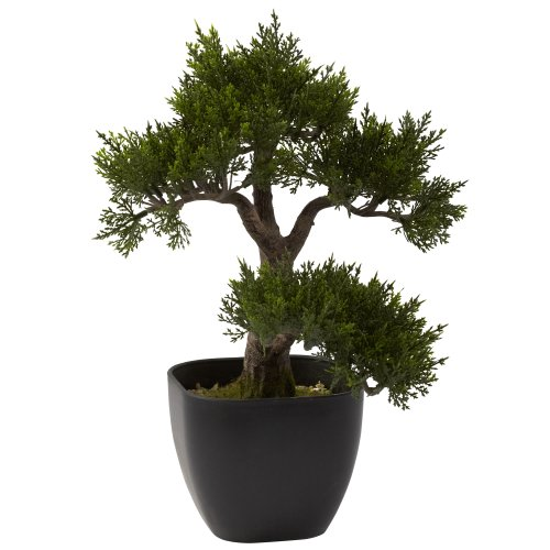 Nearly Natural 4966 Cedar Bonsai Artificial Tree, 15-Inch, Green by Nearly Natural
