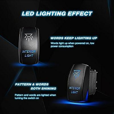 Nilight Interior Light Rocker Switch LED Light Bar 5Pin Laser On/Off LED Light 20A/12V 10A/24V Switch jumper wires set for Jeep Boat Trucks,2 years Warranty: Automotive