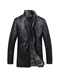 Cwmalls Men's Winter Shearling Lambskin Leather Jacket Black CW877328