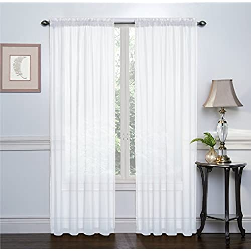 2 Pack Ultra Luxurious High Thread Rod Pocket Sheer Voile Window Curtains By Victoria Classics