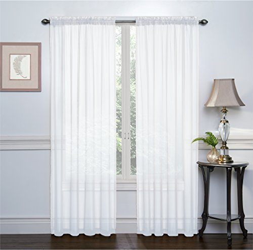 2 Pack: Ultra Luxurious High Thread Rod Pocket Sheer Voile Window Curtains by GoodGram – Assorted Colors (White)