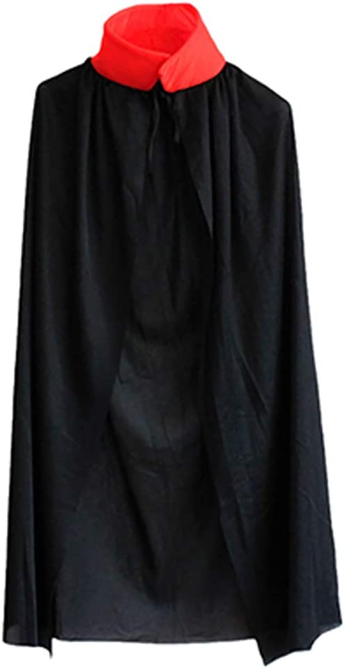 kentop Niños Capa Halloween Stand Cuello Rojo Negro Doble Cara ...