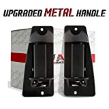T1A Black Textured Metal Upgraded Exterior Rear Left Driver and Right Passgenger Side Extended Cab Door Handle Pair Replacements for 1999-2007 Chevy Silverado and GMC Sierra T1A 15758172 15758171
