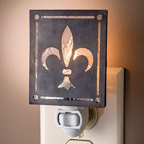 J Devlin NTL 145-2 Fleur de lis Night Light Metal Overlay on Clear Vintage Glass Decorative French (Fleur Night Light)