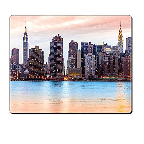 Mouse Pad Unique Custom Printed Mousepad New York Manhattan Skyline Midtown View From The Lake Usa American City Artsy Picture Peach Blue Mauve Stitched Edge Non Slip Rubber