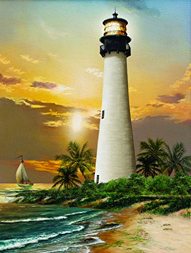 Sunsout 2019 Cape Florida Lighthouse by Artist Tom Wood 500 Piece Lighthouses Jigsaw Puzzle