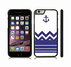 iStar Cases? iPhone 6 Case with Chevron Pattern Royal Blue Stripes Royal Blue Anchor , Snap-on Cover, Hard Carrying Case (Black)