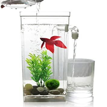 LSHUAIDJ Acuario Goldfish Tank Acuario Perezoso autolimpiante de Escritorio Mini plástico Creativo Goldfish Tank pequeño Acuario