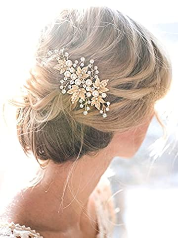 Bridalvenus Gold Bridal Hair Pins Set, Wedding Leaf Hair Pin Hair Clips for Women and Girls (Set of (Hair Pin Gold)