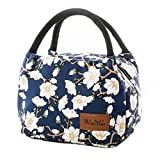 Insulated Lunch Bag for Women and Kids Reusable Tote Cooler Bag for Picnic Beach Camping (Flowers)