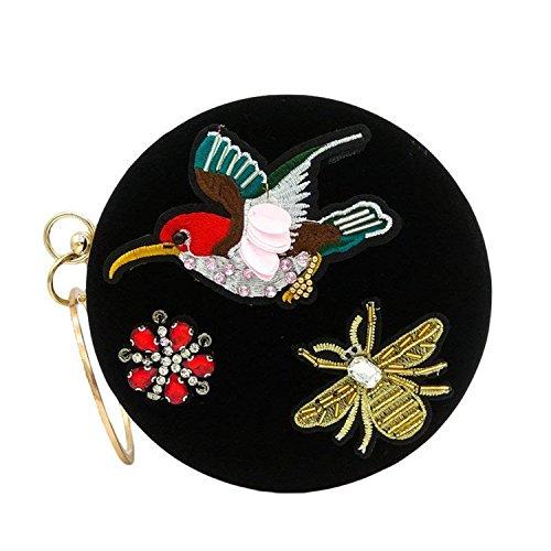 Black Clutch Bird ONRound Flower Party Day Handbag Embroidery Bag Crystal Circular Women Clutches Metal Rising Box qZAItndOxO