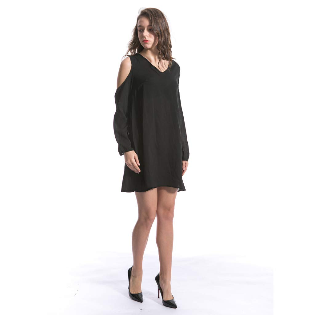 Clothful  Women Dress, Women Fashion Chiffon Solid V-Neck Long-Sleeved Shoulder Hollow 6XL Loose Dress Black by Clothful (Image #3)