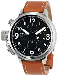 """U-Boat Men's 6249 """"Flightdeck"""" Stainless Steel Watch with Leather Band"""