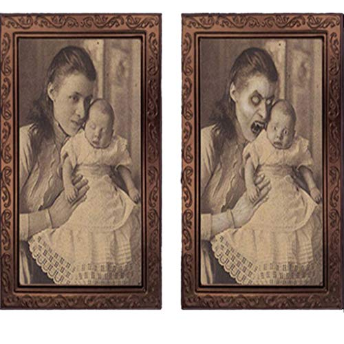 Gothic Halloween Face Painting (shamoluotuo Zombie Lenticular Portrait Halloween Decorative 3D Changing Face Horror Portrait Haunted Spooky Painting Frame House Bar Party Props Wall Decor Scene Decorating Kit (Woman and)
