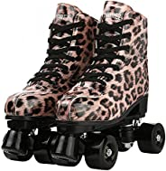 XUDREZ Leopard Roller Skates High-Top Double-Row Leather Roller Skates for Women and Men