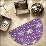 Eggplant Bath mats for Floors Beautiful Lilacs with Leaves Sticking Out of Them in Soothing Purple Background Bathroom Mats Half MoonH 55.1'' xD 82.6'' Purple White