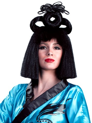 Enigma Wigs Women's Deluxe Geisha, Black, One -