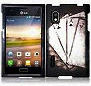 Black White Poker Ace Hard Cover Case for LG Optimus Extreme L40G