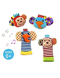 Daisy  4-Piece Animal Baby Infant Wrists Rattle and Socks Foot Finders Set Developmental Soft Toy - Elephant and Monkey BOBEBE Online Baby Store From New York to Miami and Los Angeles