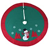 Image of Wewill Exquisite Thick Christmas Tree Skirt with Red Border Tree Decoration Holiday Ornament, 35-Inch (Style 1)