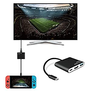 TNP Nintendo Switch to HDMI Adapter - USB Type C Hub, USB-C Charging Port, HDMI Output Dongle Video Audio AV Charging Port Adaptor Converter Cable Wire Cord Plug Connector