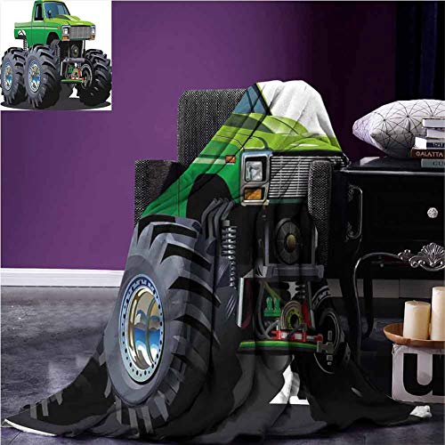 Cars Throw Blanket Giant Monster Pickup Truck with Large Tires and Suspension Extreme Biggest Wheel Print Full Blanket 54 x 72 Inch Green Grey